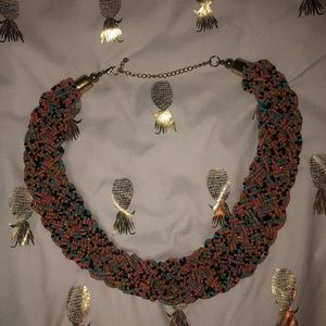 "Vintage multi strand braided beaded 20"" necklace"